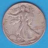 (1) MONEDA DIN ARGINT SUA - HALF DOLLAR 1945, FARA LITERA, WALKING LIBERTY, America de Nord