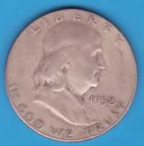 (3) MONEDA DIN ARGINT SUA - HALF DOLLAR 1952, LIT. S, BEN FRANKLIN, America de Nord