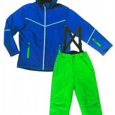 Jacheta si pantaloni Ski copii, Pocopiano, verde/albastru