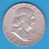 (5) MONEDA DIN ARGINT SUA - HALF DOLLAR 1954, FARA LITERA, BEN FRANKLIN, America de Nord