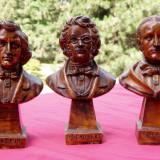 3 statuete compozitori in alabastru lacuit Chopin Schubert Wagner