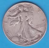 (1) MONEDA DIN ARGINT SUA - HALF DOLLAR 1946, FARA LITERA, WALKING LIBERTY, America de Nord