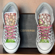 Adidasi CONVERSE All Star Padded ORIGINALI custom handmade masura 43 Unicat - Tenisi barbati Converse, Culoare: Alb, Textil