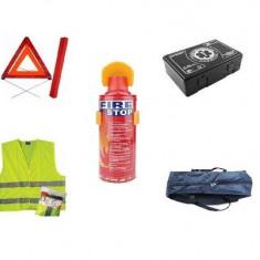 Kit Siguranta - trusa medicala, triunghi, stingator tip spray, vesta, geanta