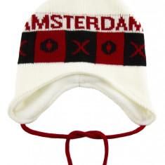 Caciula tricotata Amsterdam, Alb / Rosu