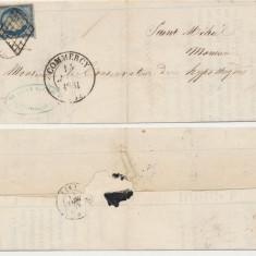 FRANTA 1851 plic cu timbru Ceres 20 Cts albastru inchis prima emisiune