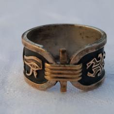 Inel argint Egipt VECHI cu multiple simboluri Egiptene aurite SPLENDID de Efect