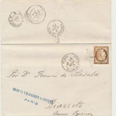 FRANTA 1875 plic clasic cu timbru Ceres 40 Cts nuanta brun necatalogata