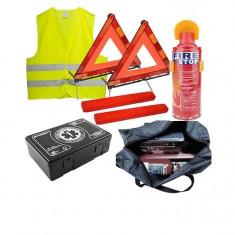 Kit Siguranta - trusa medicala, 2x triunghiuri, stingator spray, vesta, geanta