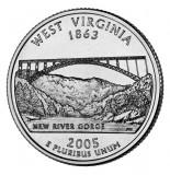!!! SUA - QUARTER WEST VIRGINIA 2005 , P - KM 386 - VF / SERIA STATELE SUA, America de Nord