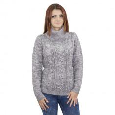 Pulover pe gat tricotat, de dama, gri, Bluhmod