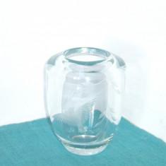 Vaza ART DECO cristal, gravata manual - Dove - design Vicke Lindstrand, Orrefors - Vaza sticla
