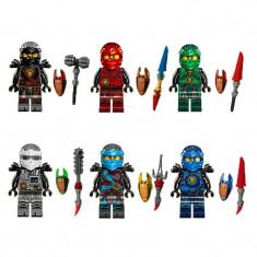 Set 6 minifigurine tip LEGO Ninjago 2017, Hands Of Time, Kai, Cole, Jay, Zane - Figurina Desene animate