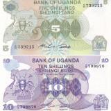 Bancnota Uganda 5 si 10 Shilingi (1982) - P15/ 16 UNC ( set 2 bancnote ) - bancnota africa