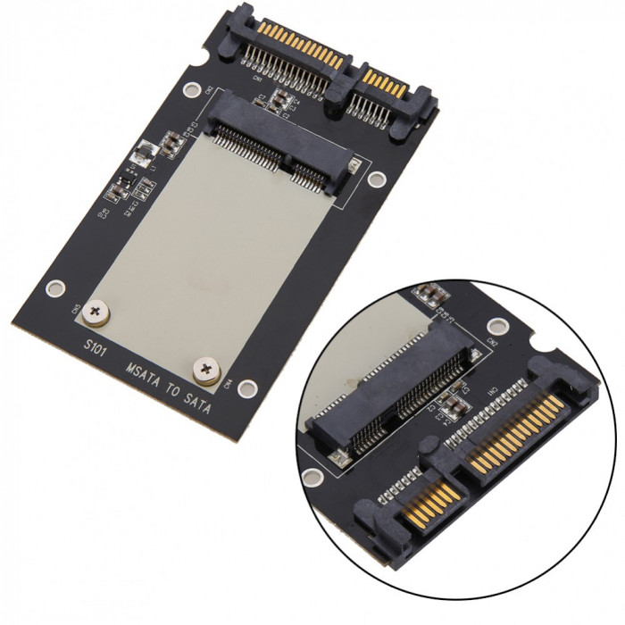 "Adaptor SSD mSATA la SATA 3 2.5"" pentru ssd-uri mSATA de 50mm mini PCI-E"