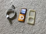 Ipod nano 4th gen 8GB+cablu+husa silicon noua pentru protectie (baterie 11 ore), 4th generation, 8 Gb, Portocaliu