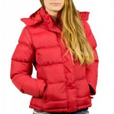 Jacheta rosie de iarna cu gluga, de dama, B&C