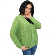 Pulover verde de dama, tricotat, cu capse, Bluhmod
