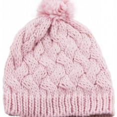 Fes de dama tricotat cu ciucure, Roz