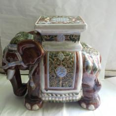 Elefant vechi, ceramic, emailat, scaun - suport