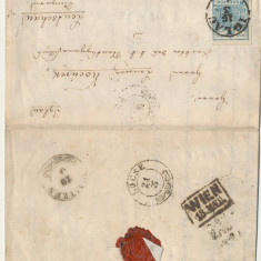 AUSTRIA 1852 plic cu timbru 9 kr prima emisiune din Iglau spre Locse in Ungaria