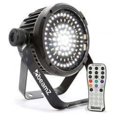 BEAMZ BS98 LED-STROBE STROBOSCOP, 98XSMD-LEDS DMX, telecomandă IR, alb - Stroboscop club