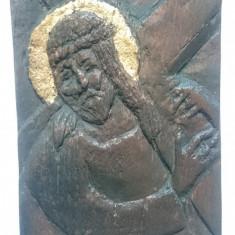 Icoana sculptata in lemn, foita aur - Isus Hristos Ducandu-si Crucea - Icoana cu foita de aur