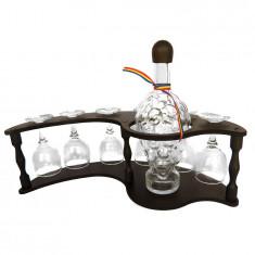 Minibar din lemn cu sticla strugure si 6 pahare de vin CDT-31-OSH