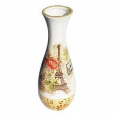 Vaza de flori ceramica Paris vintage, 20 cm - Vaza si suport flori