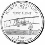 !!! SUA - QUARTER   NORTH  CAROLINA  2001 , D - KM 319 - VF+ / SERIA STATELE SUA, America de Nord