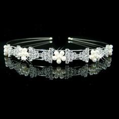 Cordeluta / tiara mireasa cu perle sicristale tip Swarovski - Tiare mireasa