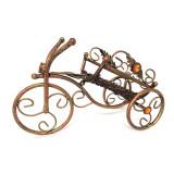 Suport pentru vin din fier forjat bronz antichizat - bicicleta
