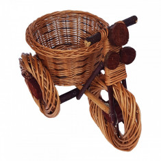 Suport flori Bicicleta rustica, din rachita - Vaza si suport flori