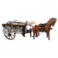 Minibar trasura din lemn cu cai CDT-38-OSH - Suport sticla vin