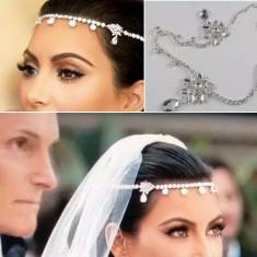 Colier / tiara frunte mireasa cu cristale - Tiare mireasa