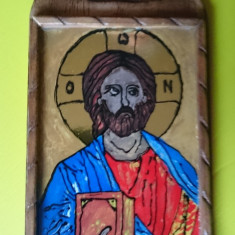 Icoana Pictata Pe Sticla suport rama lemn - Isus Hristos Cristos Mantuitorul - Icoana pe sticla