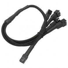 Cablu adaptor pentru ventilatoare Nanoxia 1x 3 pini la 4x 3 pini, 60 cm, negru