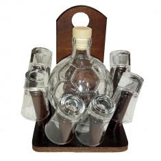 Minibar cu sticla in forma de minge si 6 paharute tarie - Suport sticla vin