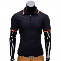 Tricou barbati polo slim fit s709 bleumarin, Marime: S, M, L, XL, XXL, Culoare: Din imagine, Maneca scurta, Bumbac