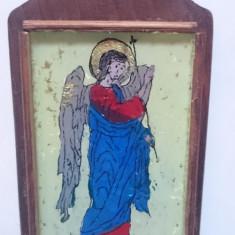 Icoana Pictata Pe Sticla rama suport lemn - Inger Arhanghel - Icoana pe sticla