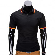 Tricou barbati polo slim fit s709 negru, Marime: S, M, L, XL, XXL, Culoare: Din imagine, Maneca scurta, Bumbac
