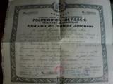 """Regatul Romaniei Diploma inginer agronom Politechnica """"Gh Asachi"""" Iasi, 1948"""