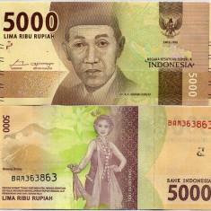 INDONEZIA- 5000 RUPIAH 2016/- NEW- UNC!! - bancnota asia