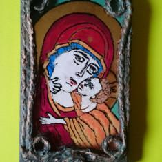 Icoana pictata pe sticla suport lemn - Maica Domnului cu Pruncul Iisus - Icoana pe sticla