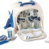 Geanta picnic pentru 4 persoane Rustic albastru - Vesela camping Alexer, Set vesela