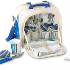 Geanta picnic pentru 4 persoane Rustic albastru - Vesela camping Alexer