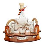 Minibar din lemn cu sticla frunza si 6 paharute - Suport sticla vin