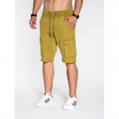 Pantaloni scurti barbati P527 mustar - Bermude barbati, Marime: S, M, L, XL, XXL, Culoare: Din imagine, Bumbac
