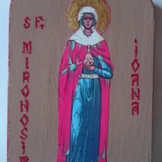 Icoana litografie lemn foita aur - Sfanta Mironosita Ioana - Icoana cu foita de aur