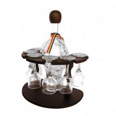 Minibar din lemn cu sticla si pahare CDT-23-OSH - Suport sticla vin